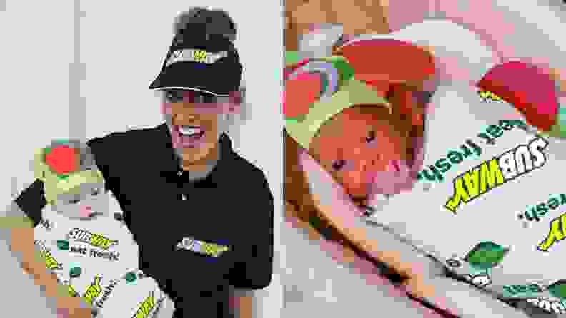 A parent dressed as a Subway worker holds a baby dressed as a sandwich.