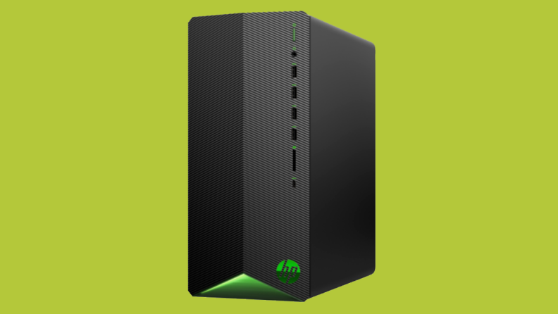 An image of a Pavilion gaming desktop tower in black and green, turned slightly to the side so the chassis is visible.