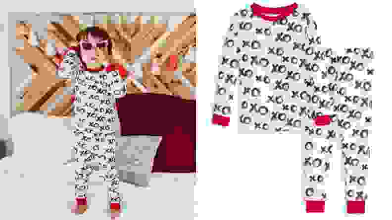 A set of white Valentine's Day pajamas features a red neckline, red cuffs, and a pattern of black Xs and Os.