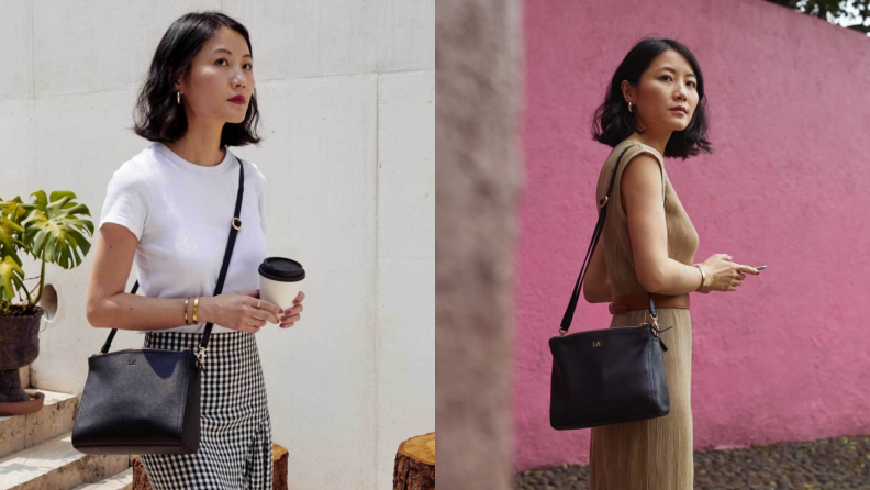 Lo & Sons Pearl leather crossbody model