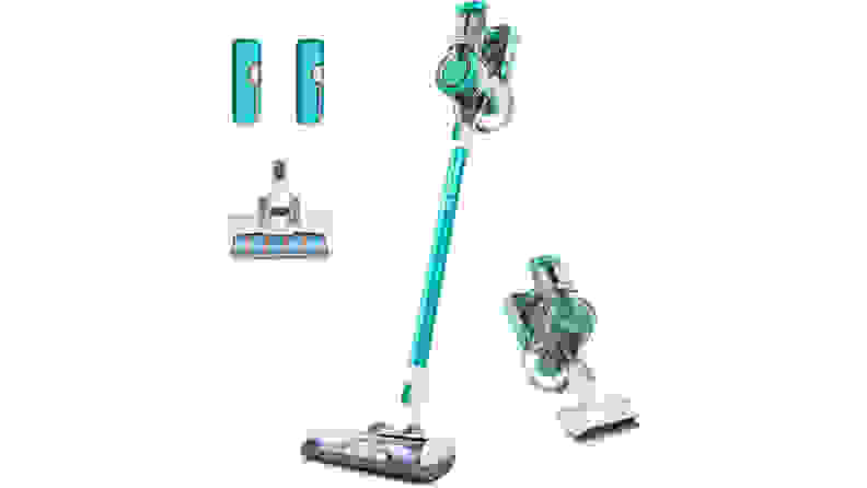 A light blue and white Tineco A11 Master cordless stick vacuum and several attachments shown on a white background.