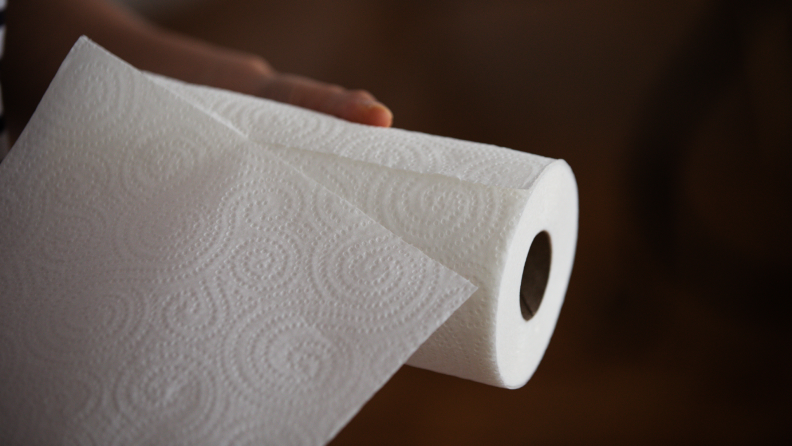 Hand pulling single paper towel off of roll.