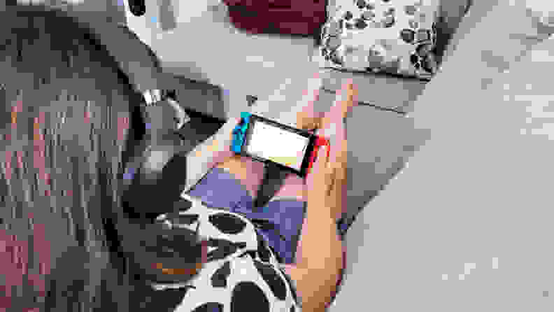 Woman using the Barracuda X while playing Nintendo Switch