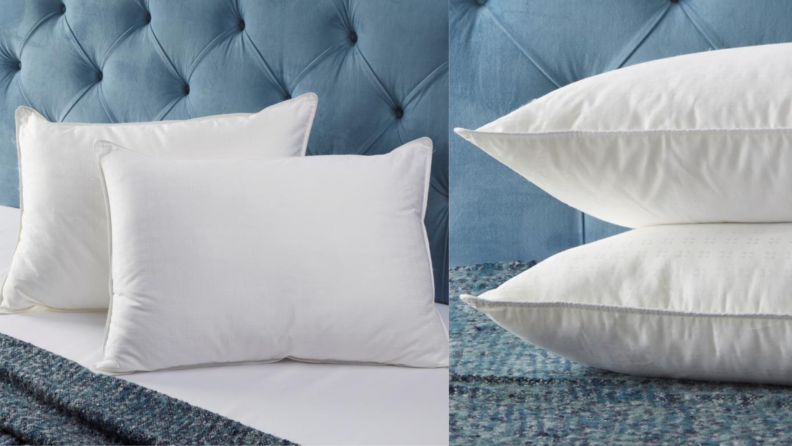 Two white pillow on a blue bed.