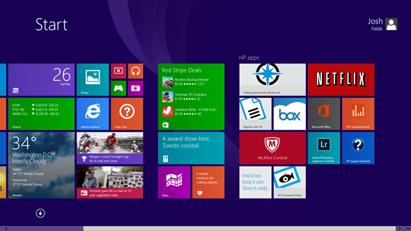 The HP Spectre's Start Screen
