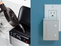 Hamilton Beach's smart coffee maker that works with Alexa is pictured next to the Currant Smart Outlet.