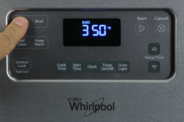 Oven control panel in use