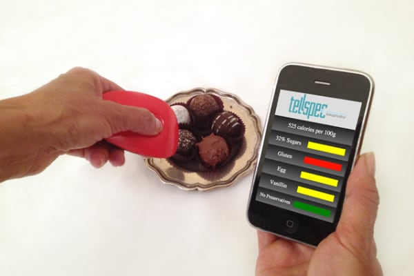 Scanning chocolates with the TellSpec.