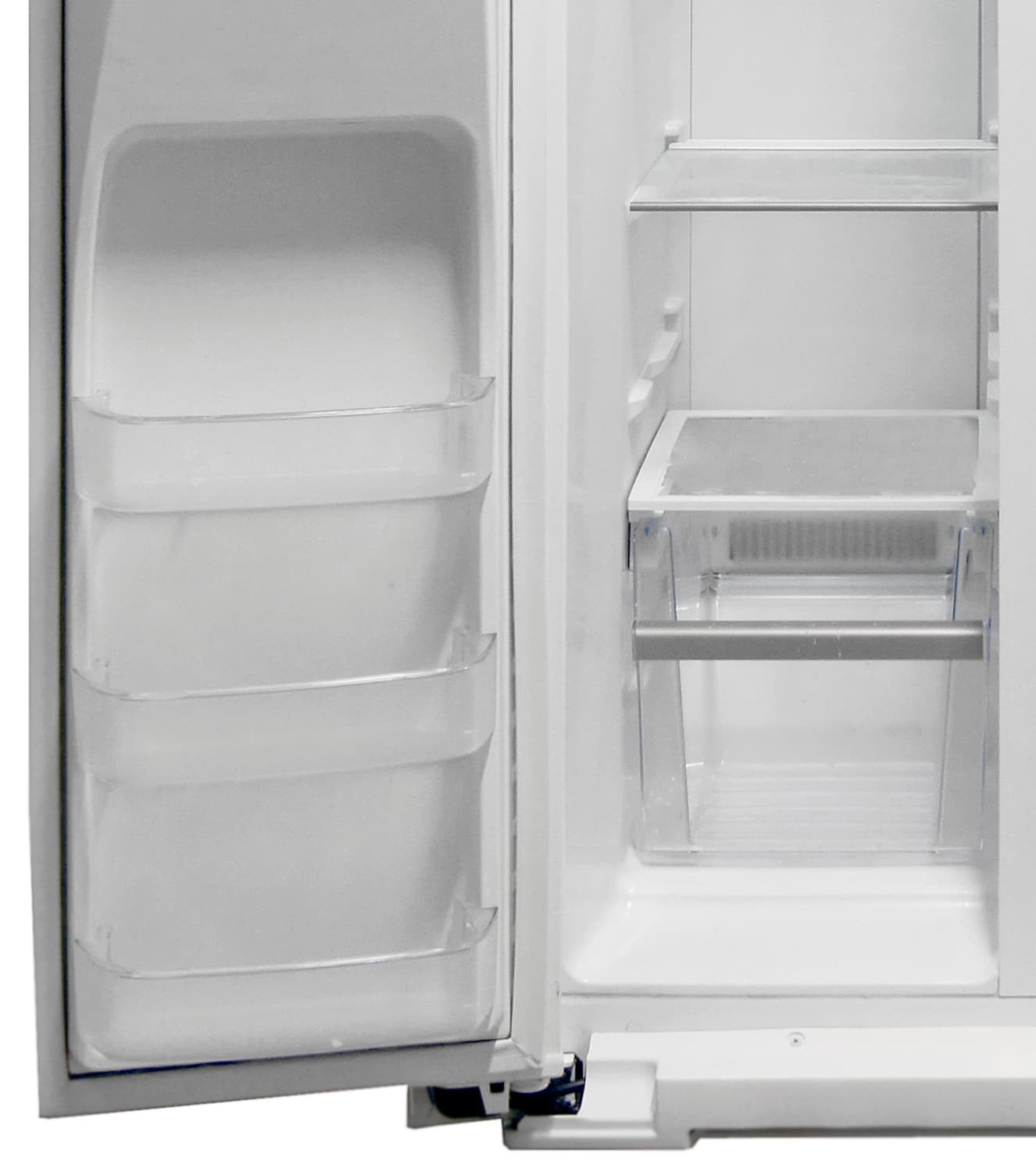 The lower half of the Kenmore Elite 51162's freezer boasts its only drawer, as well as three shallow shelves on the door.