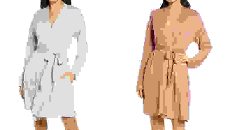 Women wearing robes on a white background