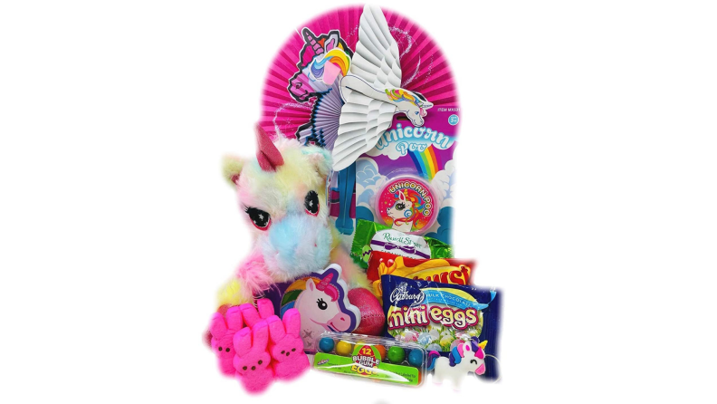 A colorful and fanciful Easter basket with a unicorn theme.
