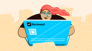 Illustration of person sitting behind laptop while online shopping