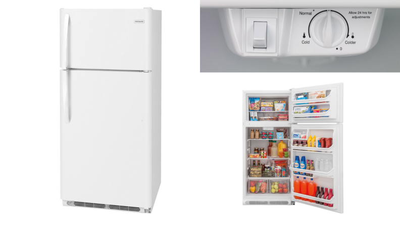 Three images, the first of a closed white fridge, the second of the same fridge open with food inside, and the third of the fridge's temperature control gauge.