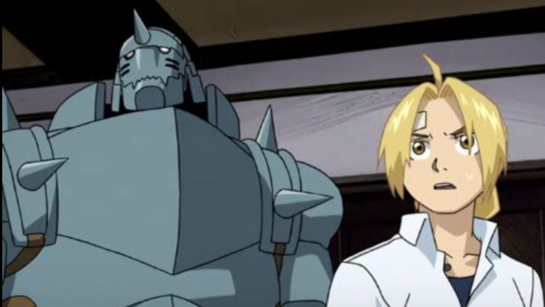 A still from Fullmetal Alchemist: Brotherhood featuring the main characters.