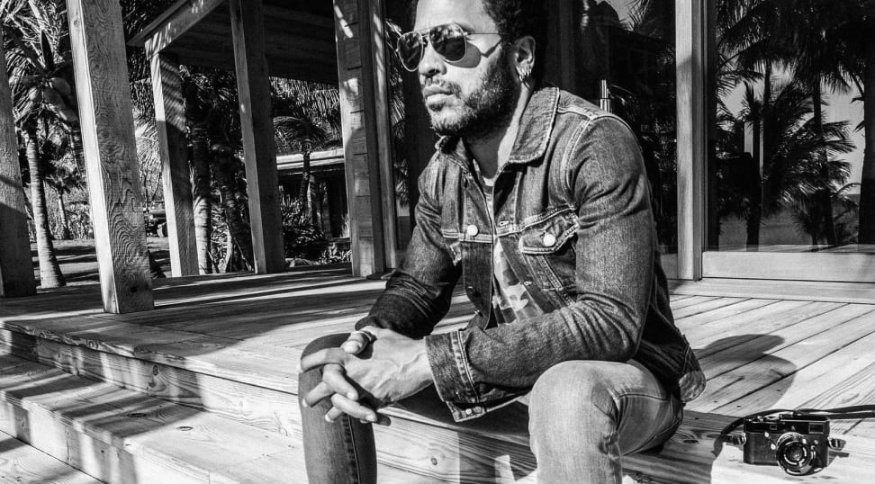 Lenny Kravitz hanging out on some steps with the Leica Correspondent
