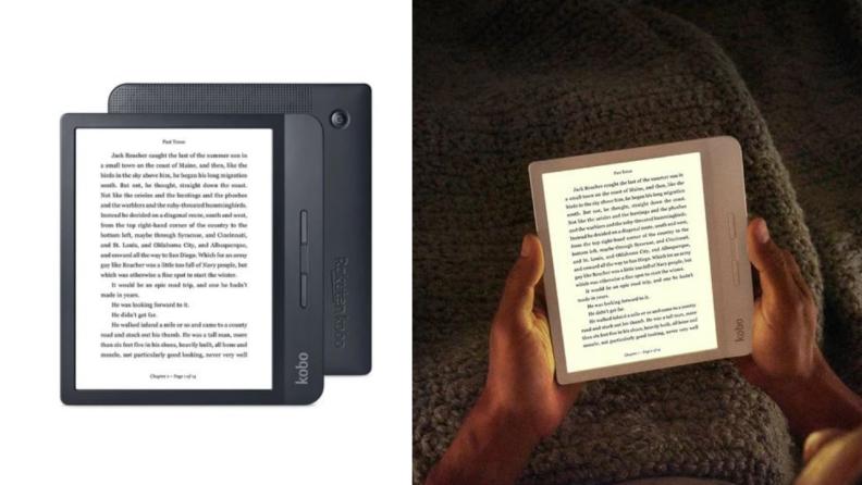E-reader displaying book.