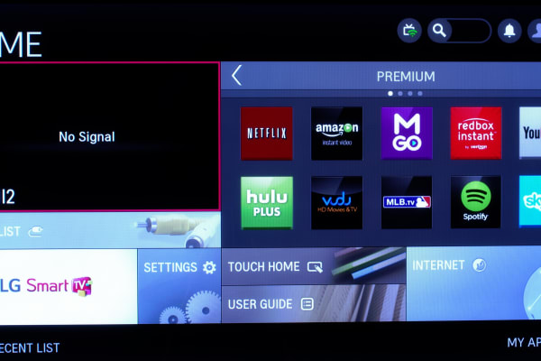 The LG 50PB6600 plasma TV's home screen.