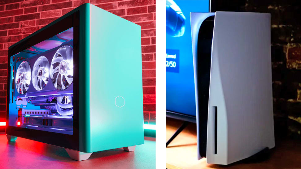 On left is a computer, on right is a playstation 5