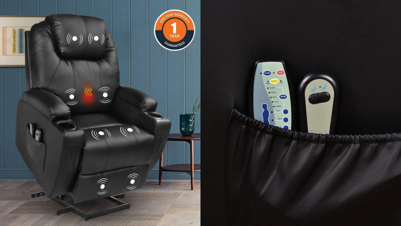 On left, black leather chair extended upward in living room. On right, leather pocket on recliner holding two remotes.