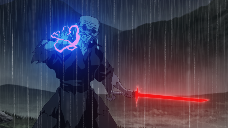 An old man standing in the rain holding a red lightsaber. There is purple energy emanating from his hand.
