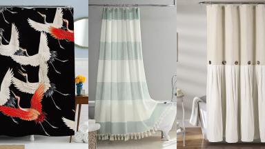 Three printed shower curtains.