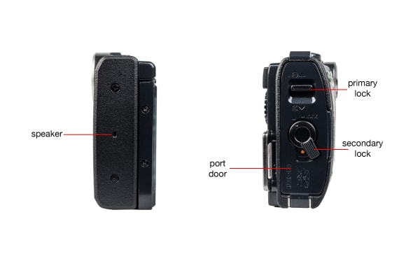 A closer look at the sides of the Olympus Stylus TG-850.