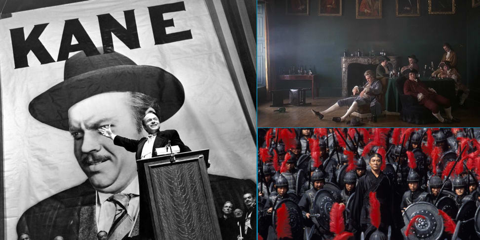 Stills from Citizen Kane, Barry Lyndon, and Hero