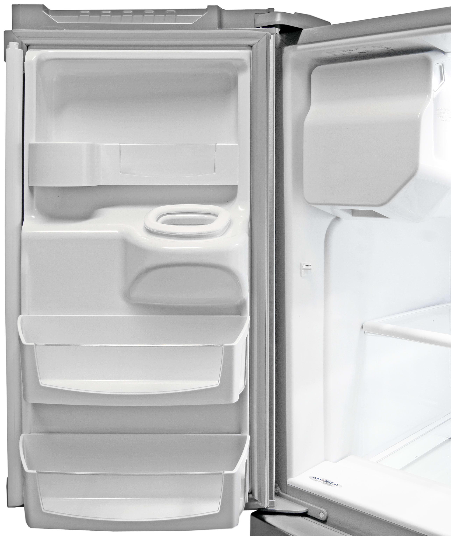 The Whirlpool WRX735SDBM's left fridge door has several shelves that contour around the ice dispenser.