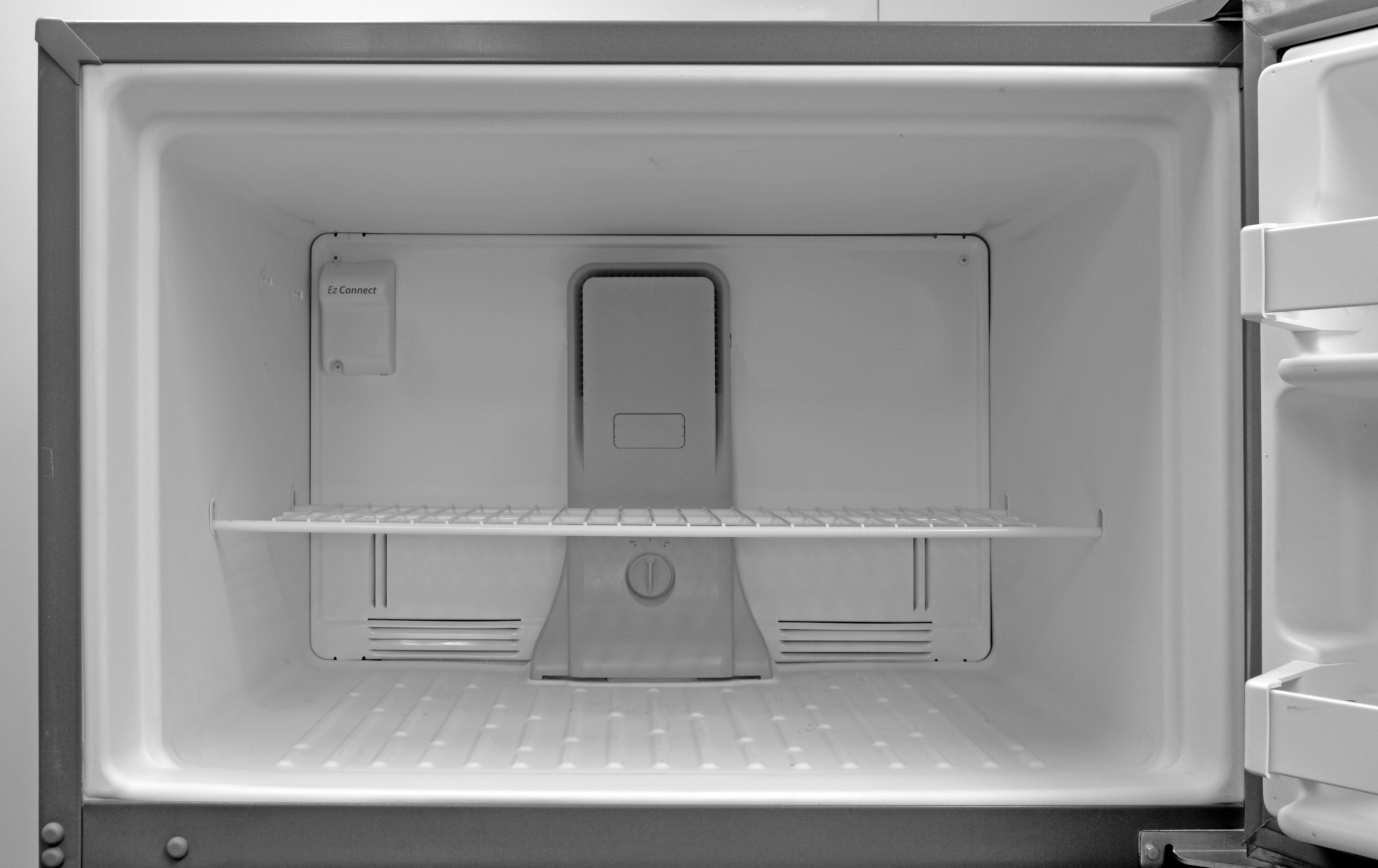 No lights in the Whirlpool WRT311FZDM's freezer, plus the shelf is made of wire. Ah, well, can't win 'em all...