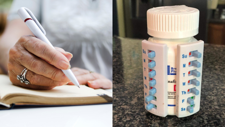 On left, person writing in notebook with pen. On right pill tracker gadget on bottle.