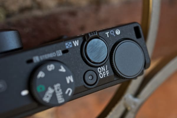 A photograph of the Nikon Coolpix P340's shutter release.