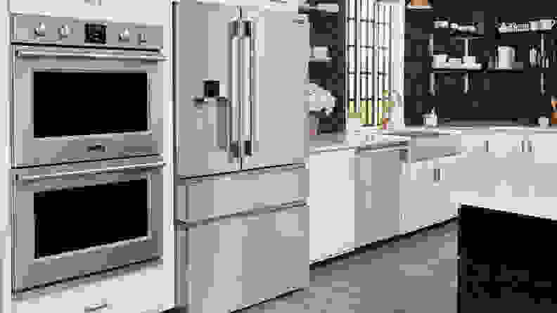 The Frigidaire Professional PRMC2285AF in a white kitchen.