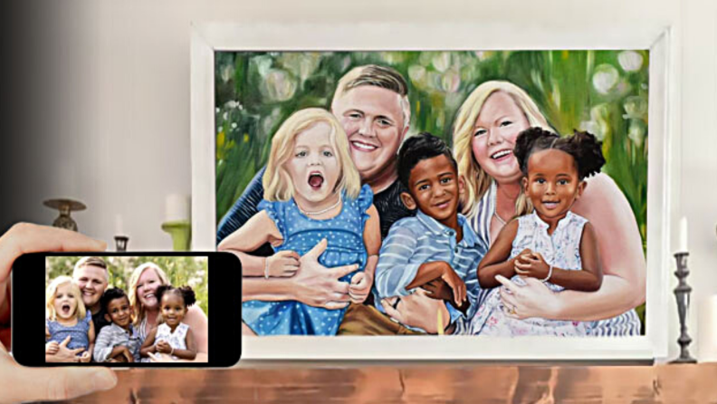 A commissioned customizable portrait inspired by a photograph.