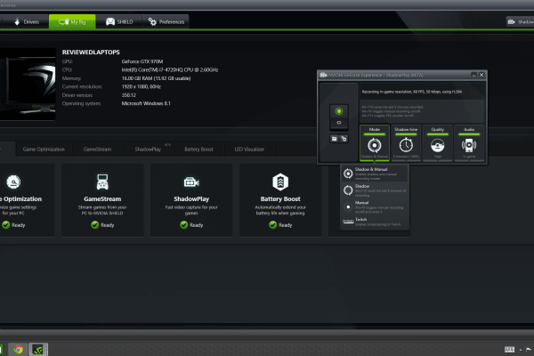 The NVIDIA GeForce Experience is full of useful system information and is a built-in hub for capturing game video or streaming to Twitch.