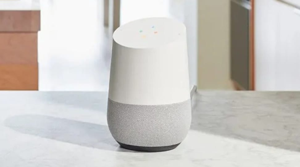 Google Home speaker on white counter