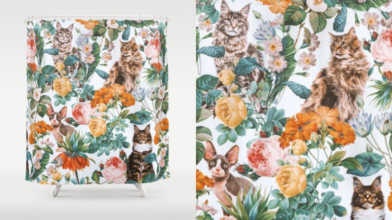 A shower curtain with flowers and cats