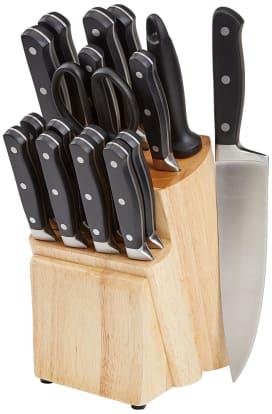 Product Image - AmazonBasics Premium 18-Piece Knife Block Set