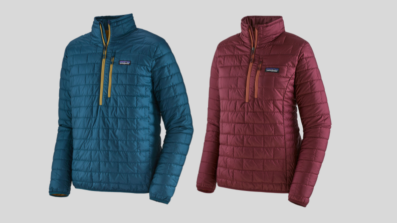 A blue and a red rain jacket pullover.