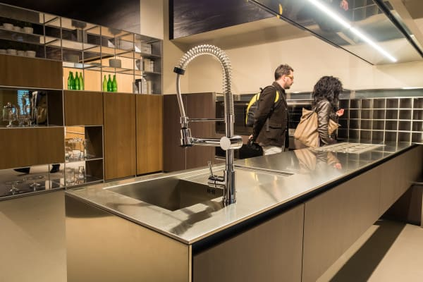 Italian designer Rastelli showed off a huge stainless countertop at EuroCucina.