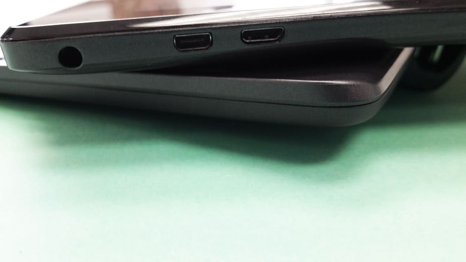 Ports on the tablet's right side include a micro SD card reader, mini HDMI, micro USB, and a headphone jack.