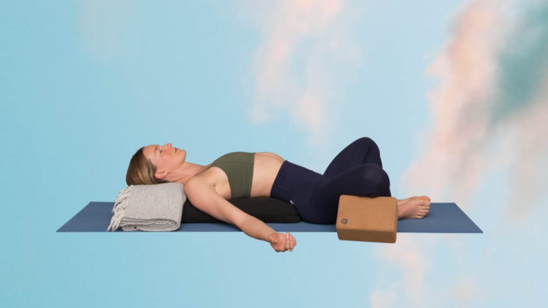 Relaxed yoga pose.