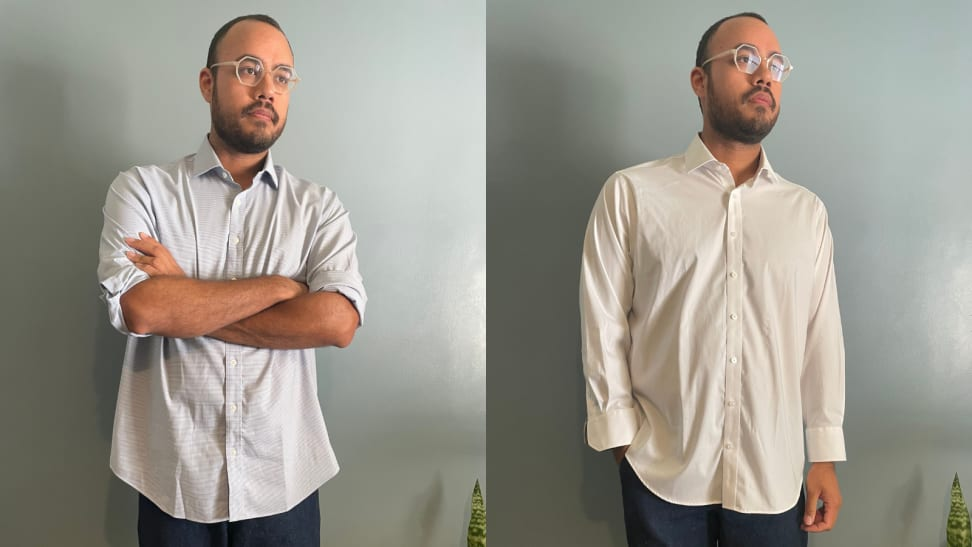 man crossing arms in Twillory shirt, man with hand in pocket wearing white Twillory button-down shirt