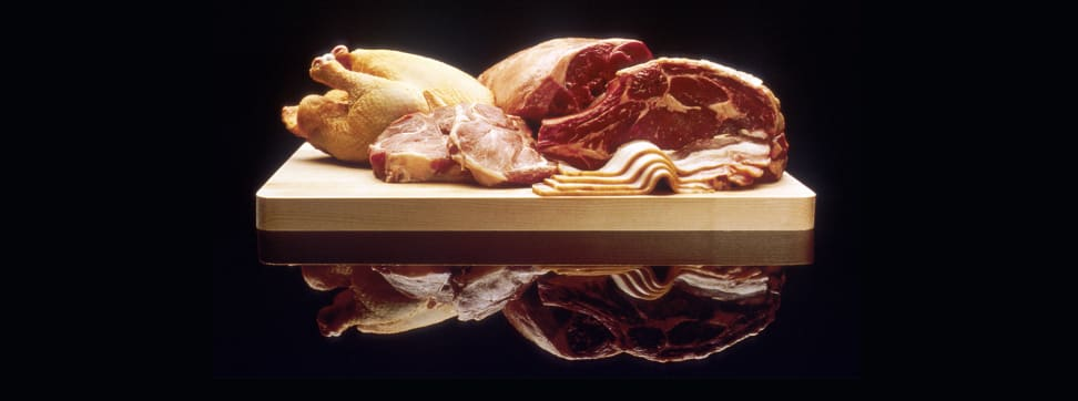 A table full of meat.