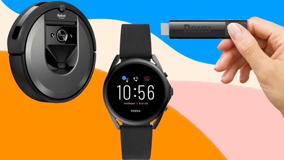 Black robot vacuum, black smart watch and hand holding a black Roku device