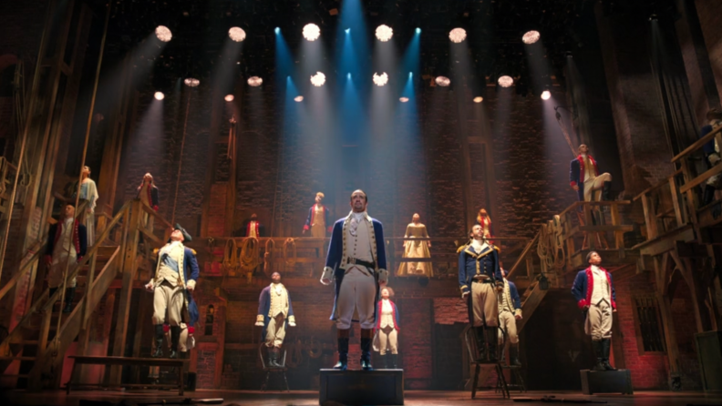 A still from Hamilton featuring most of the cast.