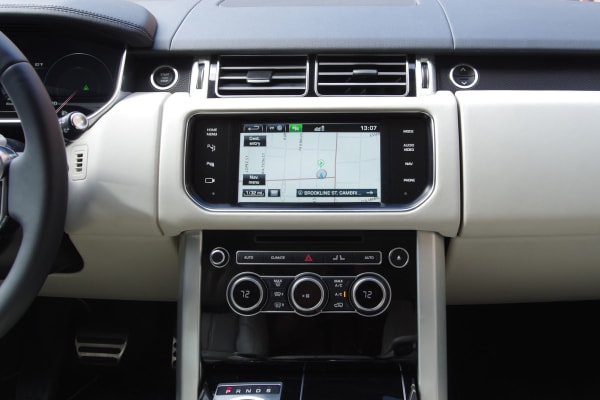 Range Rover navigation system's home screen.