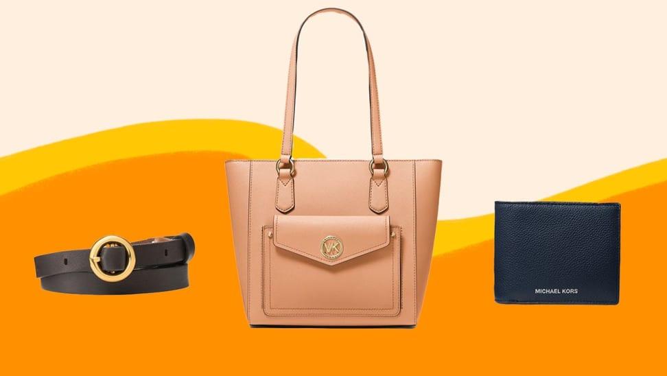 A brown belt, peach purse, and black wallet.