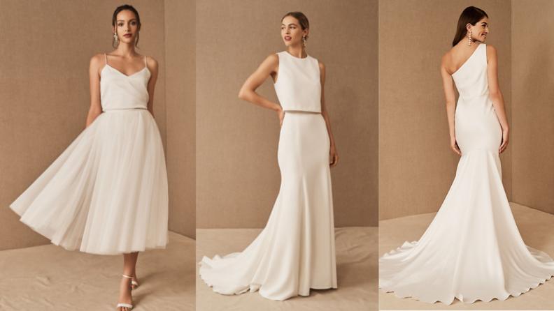 three women modeling BHLDN wedding gowns