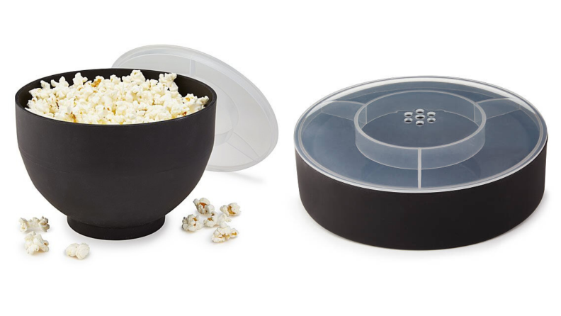 On left, product shot of filled Collapsible Popcorn Popper from Uncommon Goods. On right, collapsed popcorn popper from Uncommon Goods