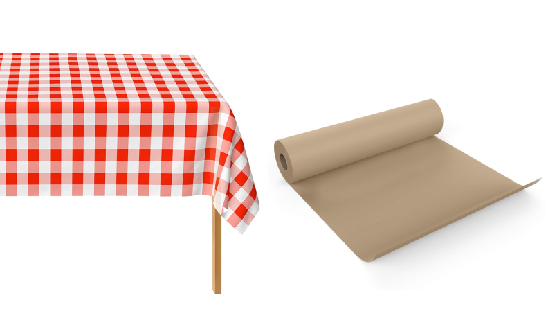 Plastic tablecloths and butcher paper